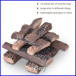 10 Pcs Ceramic Gas Fireplace Log Set Propane Fireplace Imitation Wood Log Set