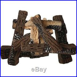 10 Piece Set Large Ceramic Wood Gas Logs for Indoor Outdoor Fireplaces Fire Pits