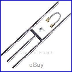 12 18 24 30 36 Stainless Steel H Burner Fireglass Fire Pit Gas Logs NG KIT