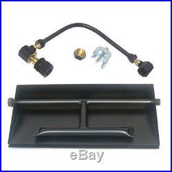 14 20 26 32 Steel Dual Burner Pan Fireplace Gas Logs Fire Glass Kit LP