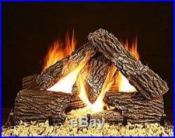 18, 24, 30 Blazing Oak Vented Fireplace Gas Logs Lots of Bark Detail LP- NG