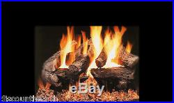 18, 24, 30 Majestic Oak Vented Fireplace Gas Logs Lots of Bark Detail LP- NG