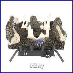 18 Vent Free Dual Fuel Gas Fireplace Wildwood Logs Lava Rocks Set Indoor Heater