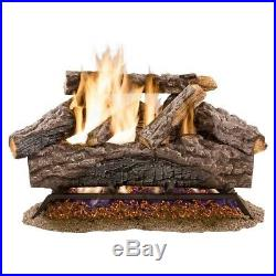 18 in. Charred River Oak Vented Natural Gas Log Set Dual Burner By Emberglow