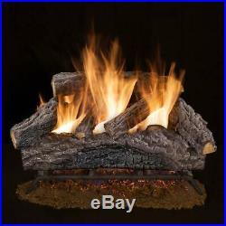 18 in. Charred river oak vented natural gas log set fireplace logs rustic dual