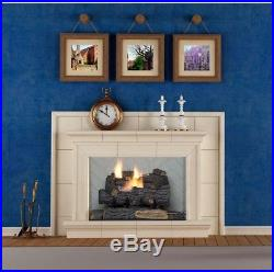 18 in. Decorative Fireplace Logs Propane Gas Vent Free Fire Log Grate Remote Con