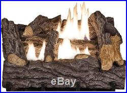 18 in. Dual Fuel Fireplace Logs Natural Gas Liquid Propane Vent Free Control