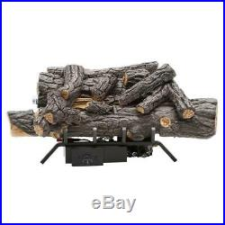 18 in Natural Gas Fireplace Logs Set w Remote Ventless Decorative Fire Place Log