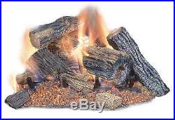 18 in. Natural Gas Fireplace Logs Vented Fire Log Insert Realistic Dual Burner