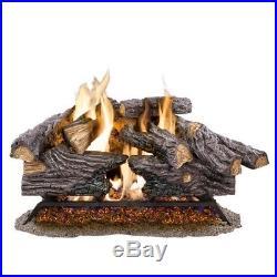 18 in. Split Oak Vented Dual Burner Natural Gas Flame Fireplace Log Heater Set