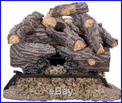 18 in. Split Oak Vented Natural Gas Log Set Flame Fireplace Log Dual Burner Heat