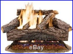 18in. Natural Gas Fireplace Logs Rustic Charred River Oak Vented Set Dual Burner