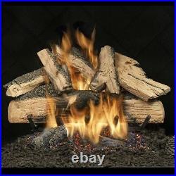 24 Elegant Charred Split Oak See Thru Gas Logs with Safety Pilot NG