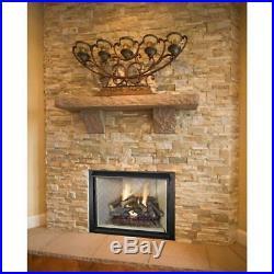 24 In Split Oak Vented Natural Gas Log Set Dual Burner Chimney Fireplace Fire