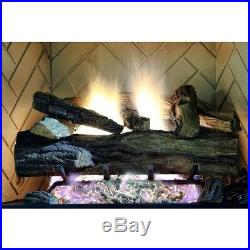 24 Natural Gas Fireplace Log Set Vented with Remote Realistic Appalachian Oak