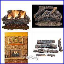24 in. Charred river oak vented natural gas log set fireplace logs burner dual
