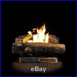 24 in. Large Fireplace Log Set Vent Free Propane Gas Decorative Fire Logs Stone