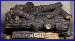 24 in Large Natural Gas Fireplace Logs with Remote Control Vent Free Fire Log Set