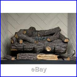 24 in. Large Premium Fireplace Log Set Propane Gas LP Vent Free Fire Logs Remote