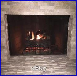 24 in. Natural Gas Fireplace Log Set Vented Charred Fire Logs Grate Dual Burner