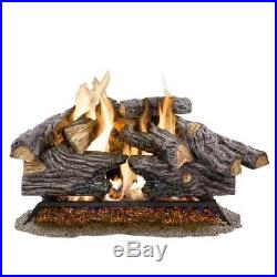24 in. Natural Gas Log Set Fireplace Insert Convert Kit Heater Realistic Hearth