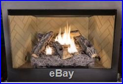 24 in. Vent Free Dual Fuel Fireplace Logs Insert Natural Gas Propane Thermostat