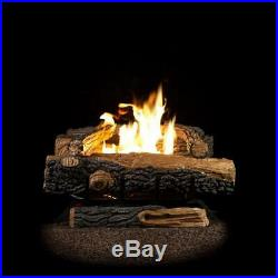24 in. Vent-Free Natural Gas Fireplace Logs Thermostat Control Heating Insert