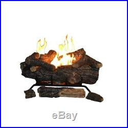 24 in. Vent-Free Natural Propane Gas Fireplace Logs with Remote Control Modern New