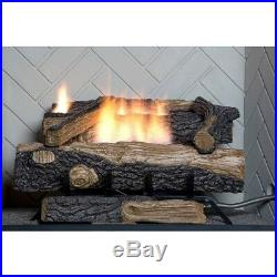 24 in. Vent Free Propane Gas Fireplace Logs Insert Adjustable Flame Height Fire