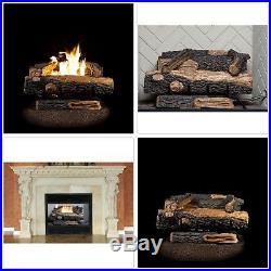 24 inches. Vent-Free Natural Gas Fireplace Logs Oakwood Dual U-shaped Burner New