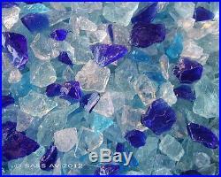 25 Lbs ARUBA MIX FIREGLASS 3/8-1/2 Fireplace Glass Gas Fire Pit Glass Rocks