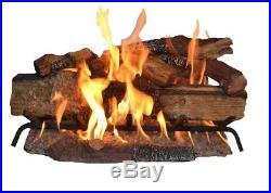 30 in. Large Natural Gas Fireplace Log Set Vented Glowing Embers Split Oak Logs