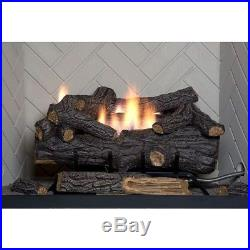 30in Large Vent Free LP Propane Gas Fireplace Logs w Remote Fire Glass Log Grate