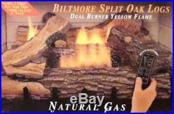 30in Large Ventless Natural Gas Fireplace Logs Set w Dual Row Burner & Log Grate