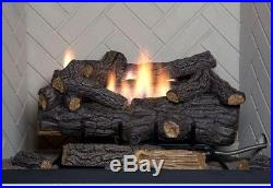 30in Large Ventless Natural Gas Fireplace Logs Set w Remote Fire Glass Log Grate