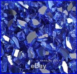 40 LBS 1/4 COBALT REFLECTIVE FIREGLASS Fireplace Glass FirePit Glass Gas Logs