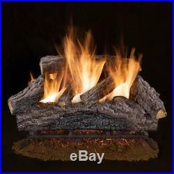 7-Pcs Decorative Fireplace Logs 24 Charred River Oak Vented Natural Gas Log Set