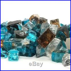 Bali Blue, Amber, Clear 1/2 Premium Reflective Fire Glass Fireplace & Fire Pit