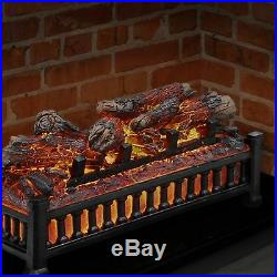 Electric Fireplace Log with Realistic Glowing Flames Heater Remote Wood Set USA