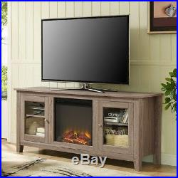 Electric Non Gas Fireplace TV Stand Console Media Center Cabinet Heater Fake Log