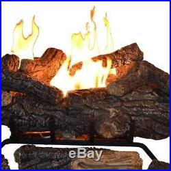 Emberglow 24 In Vent Free Propane Gas Fireplace Log Set Logs Remote Control New