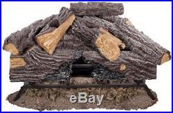 Emberglow 24 in. Split Oak Vented Natural Gas 8 Logs Dual Burner Set Log Grate