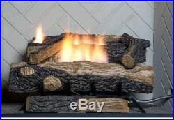 Emberglow Natural Gas Fireplace Log Thermostatic Control Fire 24 Inch Vent Free