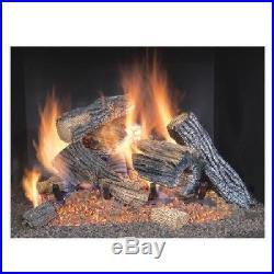 Emberglow Oak Vented Dual Burner Natural Gas Fireplace Logs Fire Log Insert Set