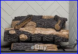 Emberglow Oakwood Vent Free Propane Gas Fireplace Logs Thermostat Fire Log Set
