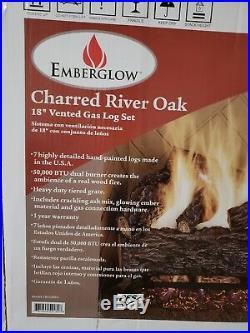Emberglow Vented Natural Gas Log Set 18 in. 50,000 BTUs Charred River Oak No Ash