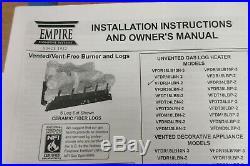 Empire 24 Fireplace Insert Room Burner Heater Log Gas 34,000 BTU VFDR24LBN-2