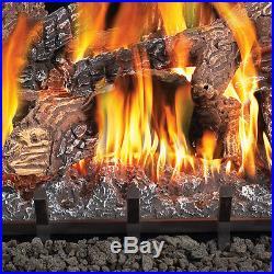 Fiberglow 18 Inch Vent Free Log Burner Set Insert for Natural Gas Fireplaces
