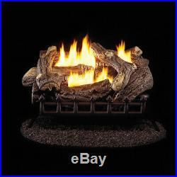 Fireplace Logs 24in Ventless Liquid Propane Gas Log Set Manual Control 34000 BTU