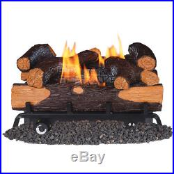 Fireplace Logs 30000-BTU Dual-Burner Vent-Free Natural Gas and amp Thermostat